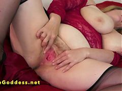 Big tits woman fisting her own hairy pussy