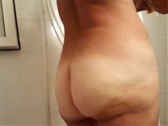 Naked Bbw Gf showering, tanlined big ass in bathroom