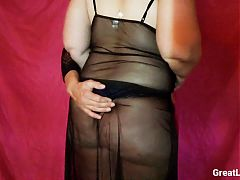 She gets off Stroking Her Dick in lingerie with Bi Hubby